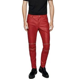 Zara Man Red Faux Leather Biker Pants Size 30